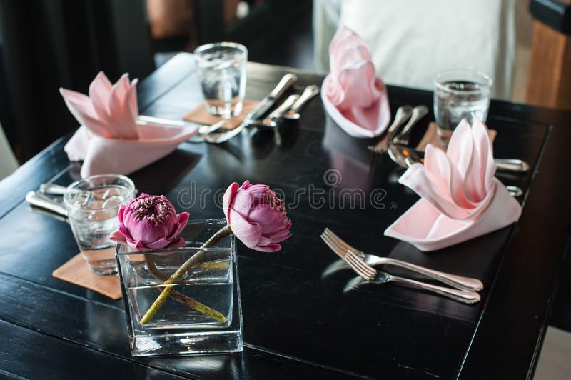 An image of tables setting at a luxury restaurant. royalty free stock photography