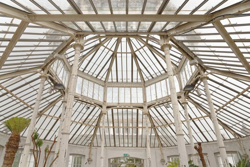 London kew gardens: temporate house octagonal skylight. Image taken of an octagonal victorian skylight in the temperate house built in 1860, kew, london royalty free stock images