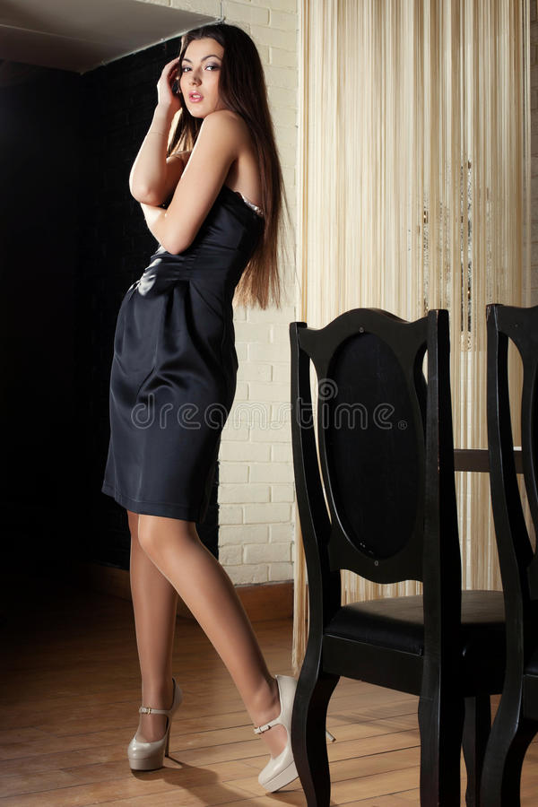 Image Of Tall Beautiful Woman Posing In Cafe Royalty Free -7949
