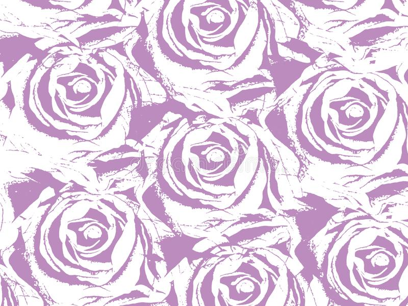 Pattern with big purple roses vector illustration
