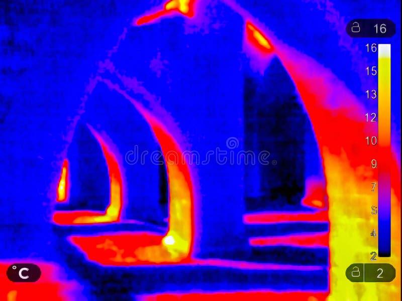 Image thermique des ruines images libres de droits