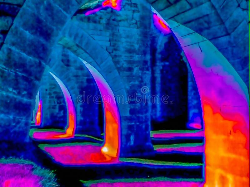 Image thermique des ruines photos stock