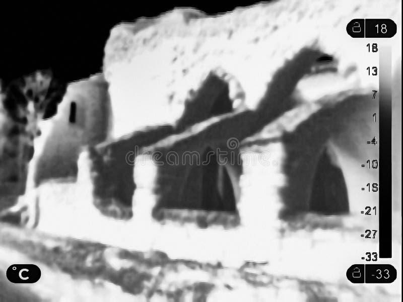 Image thermique des ruines images stock