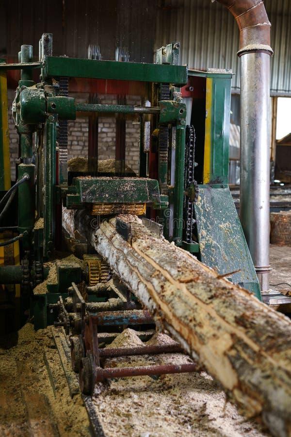 Image of timber machining at sawmill royalty free stock photos