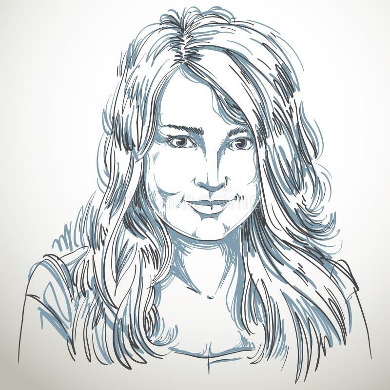 Image tirée par la main artistique de vecteur, portrait de fille de sourire élégante sensible illustration stock