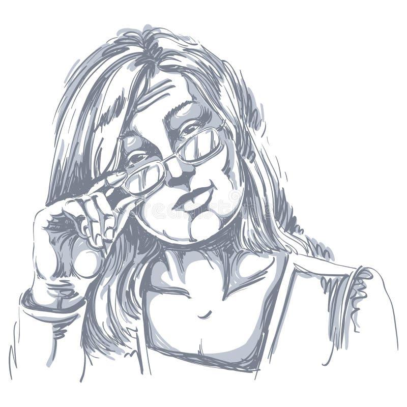 Image tirée par la main artistique de vecteur, portrait noir et blanc de De illustration stock