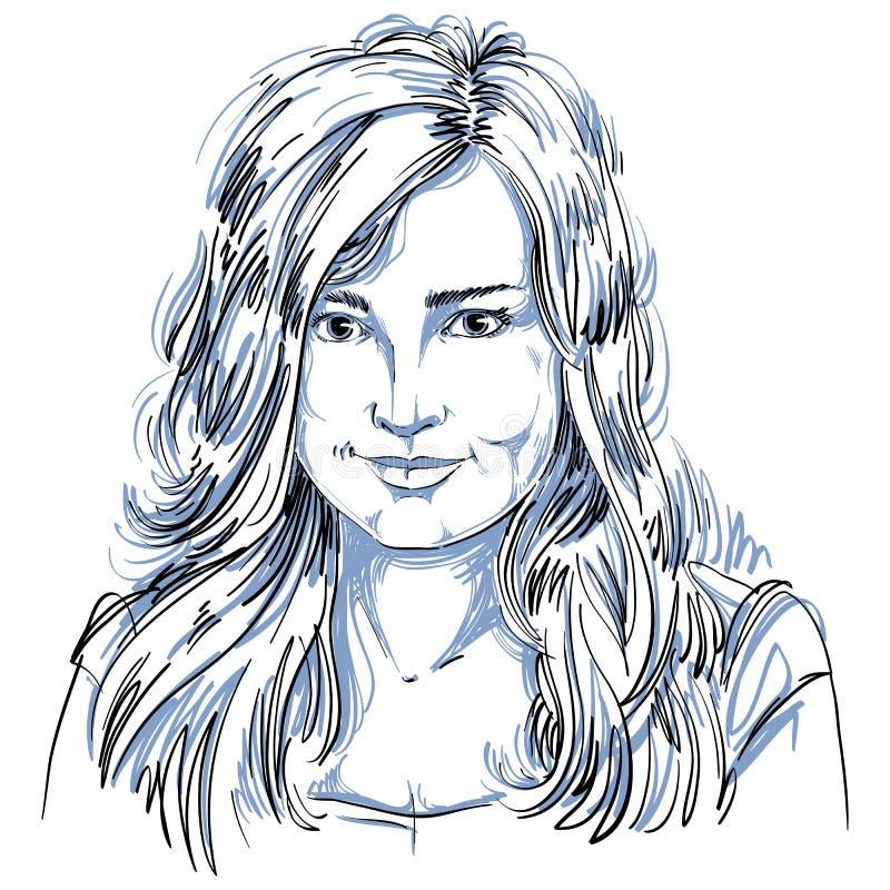 Image tirée par la main artistique de vecteur, portrait noir et blanc de De illustration libre de droits