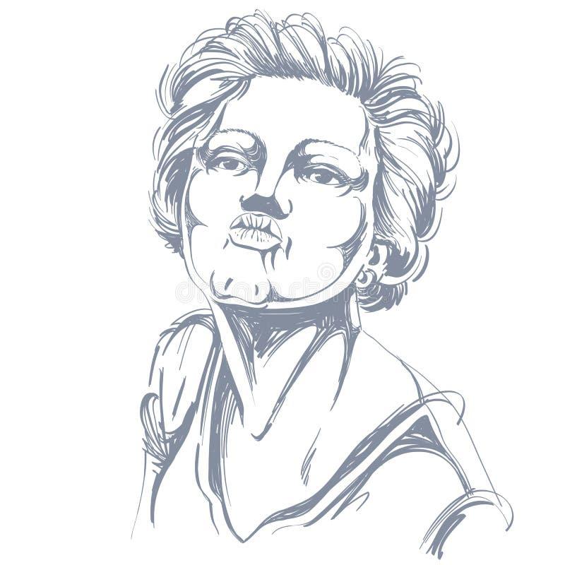 Image tirée par la main artistique, portrait de la fille tendre sensible donnant un baiser illustration stock