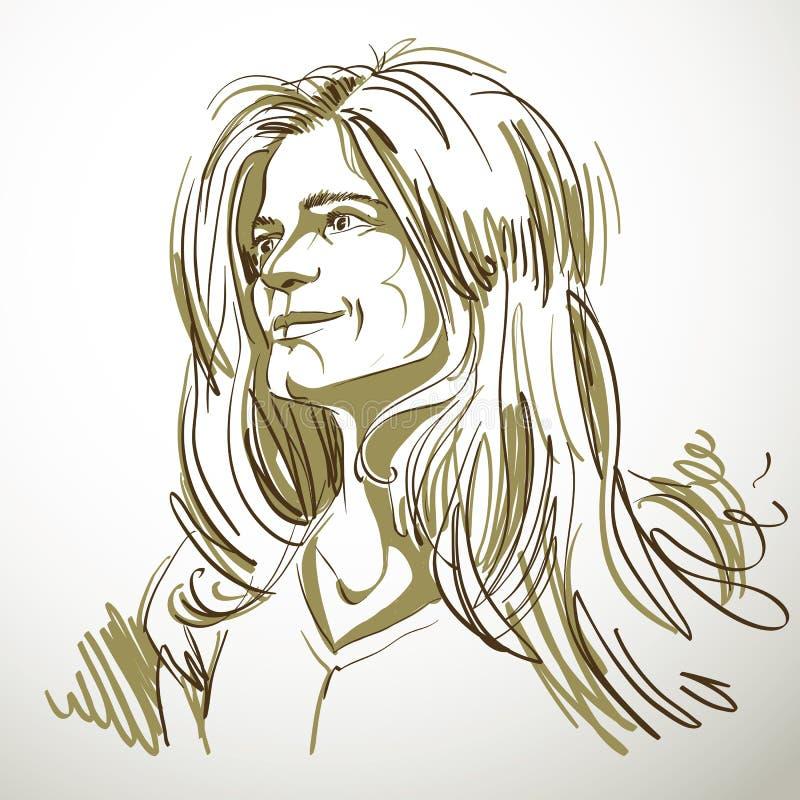 Image tirée par la main artistique, portrait noir et blanc de sensible illustration libre de droits