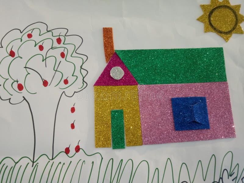 Image tirée par la main d'un cottage avec un arbre illustration stock