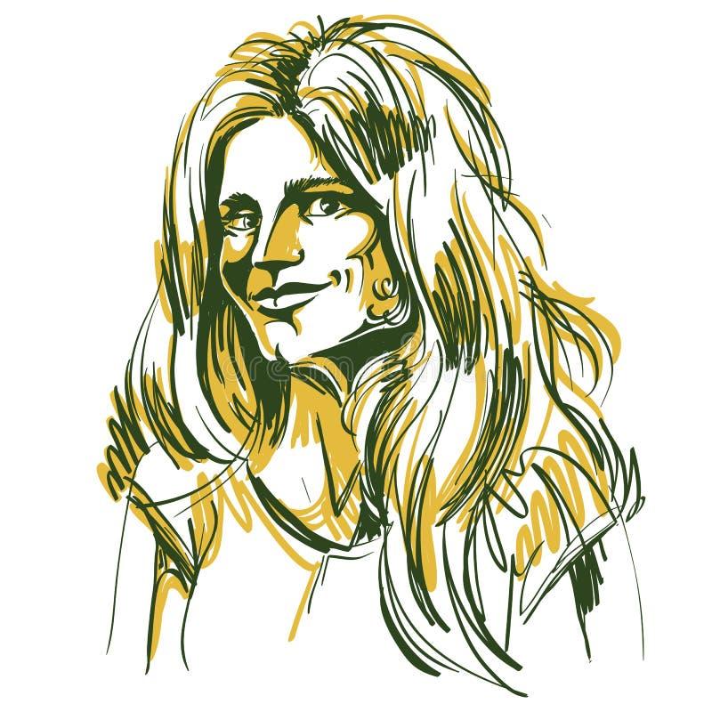 Image tirée par la main de vecteur coloré, jeune femme de flirt artistique illustration libre de droits