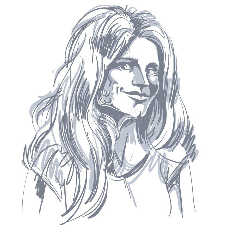 Image tirée par la main de vecteur monochrome, jeune femme de flirt noir illustration de vecteur
