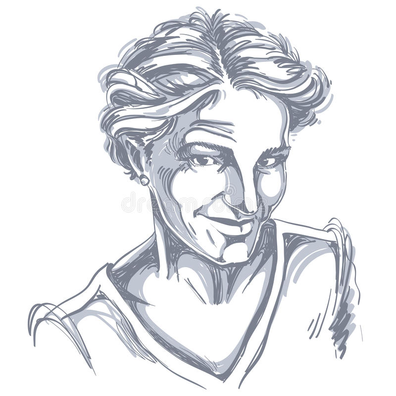 Image tirée par la main de vecteur monochrome, jeune femme sceptique illustration stock