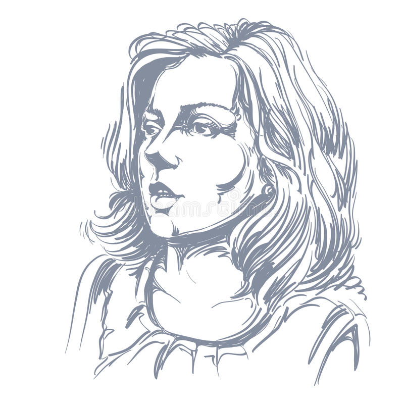 Image tirée par la main de vecteur monochrome, jeune femme stupéfaite illustration de vecteur