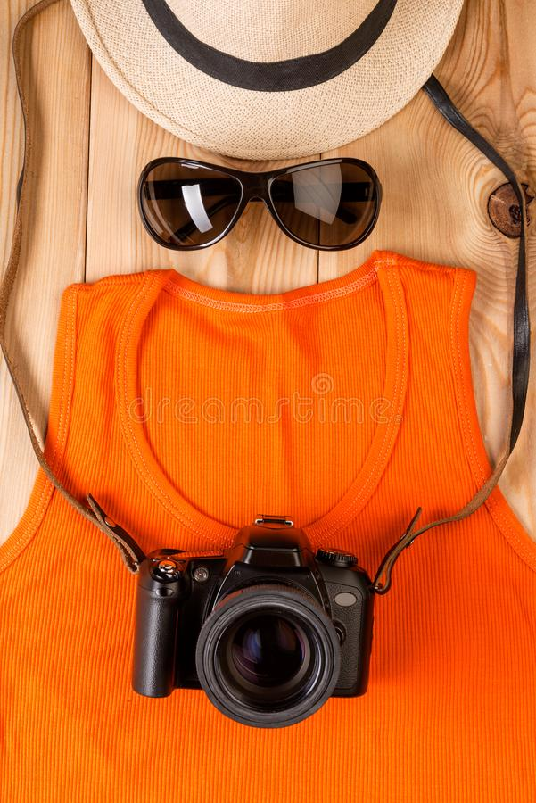 the image of a tourist photographer from clothes and accessories royalty free stock photos