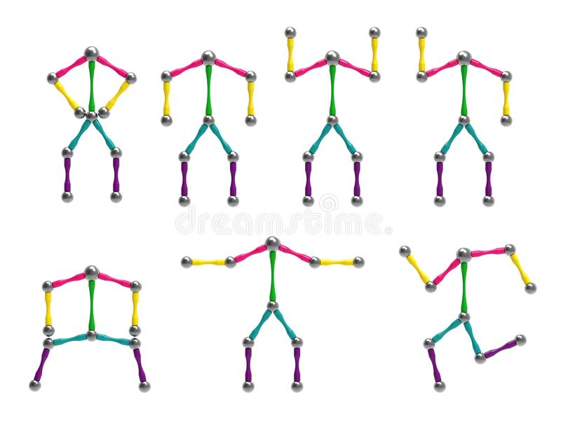Image of toy men in different positions of the body. 3D rendering. royalty free illustration