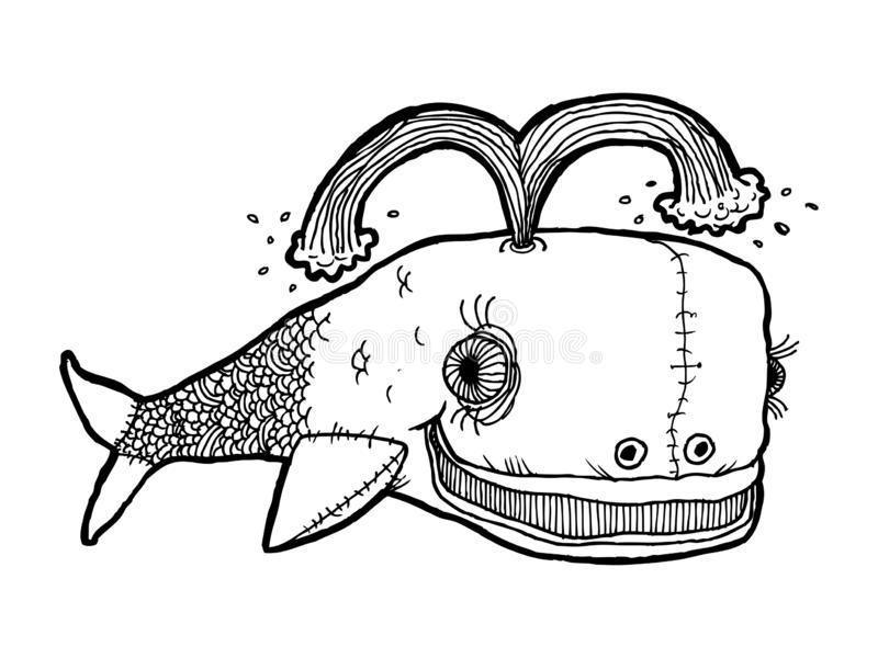 Image of a toy whale. Black and white graphics, well suited for children`s publications, registration of children`s products. stock illustration