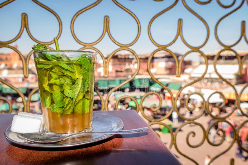 Image of Traditional Mint Tea Drink from Marrakesh Morocco stock photos