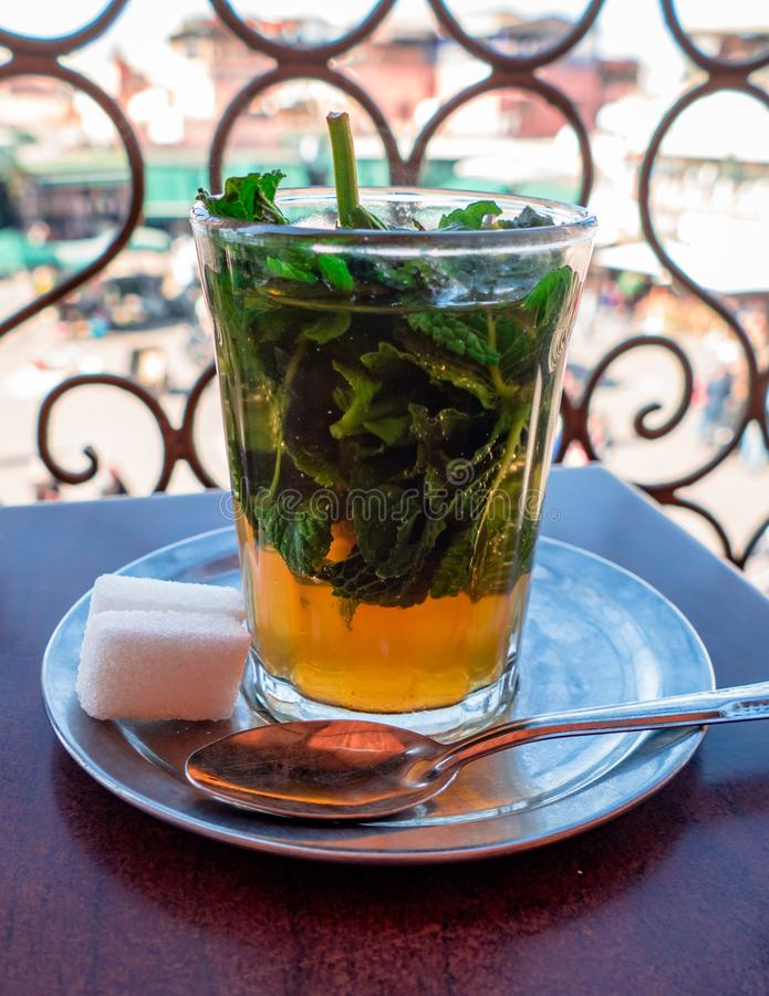 Image of Traditional Mint Tea Drink from Marrakesh Morocco royalty free stock photography
