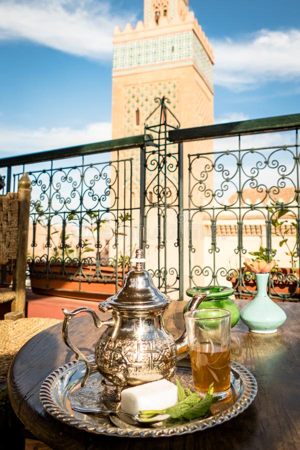Image of Traditional Mint Tea Drink from Marrakesh Morocco royalty free stock photo