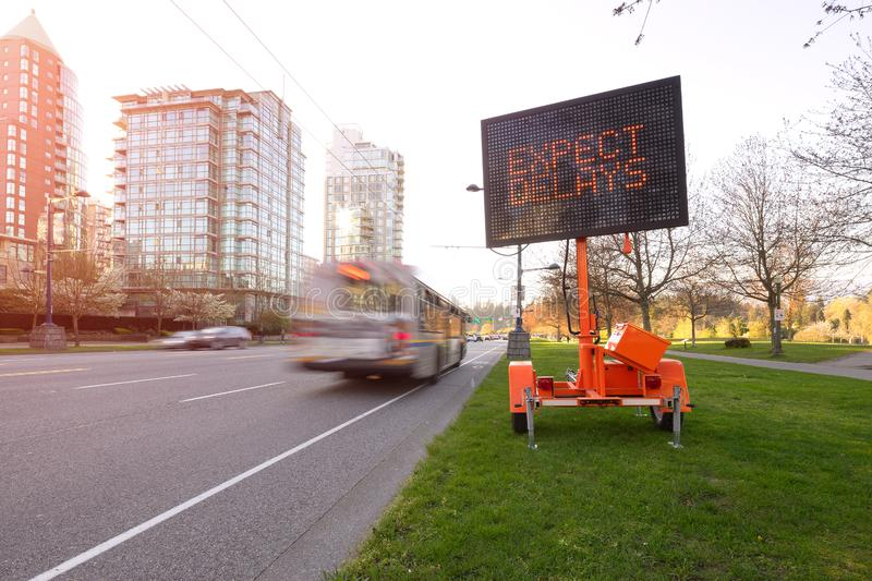 Traffic delay led sign Vancouver. The image of traffic delay led sign stock images