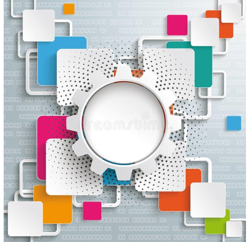 Image tramée croisée Digital de roue de vitesse de places de rectangles illustration de vecteur