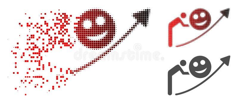 Image tramée en mouvement Person Smile Growing Trend Icon de Pixelated illustration stock