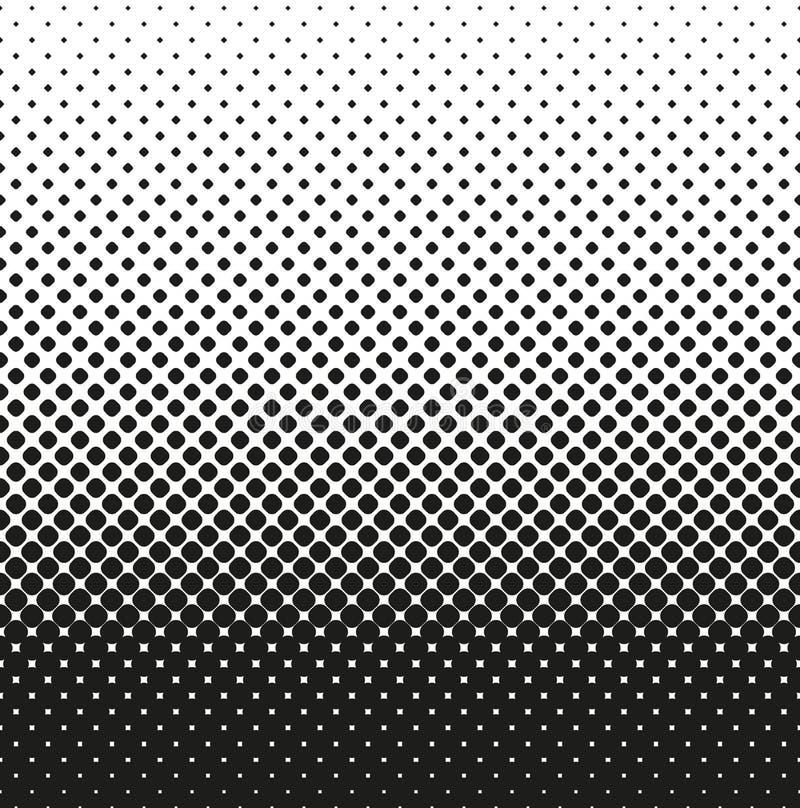 Image tramée sans couture horizontale des diminutions arrondies de places, sur le fond blanc Fond tramé Contrasty Vecteur illustration stock