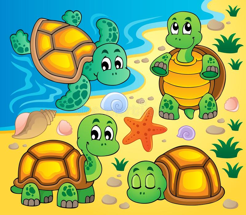 Image with turtle theme 2 stock images
