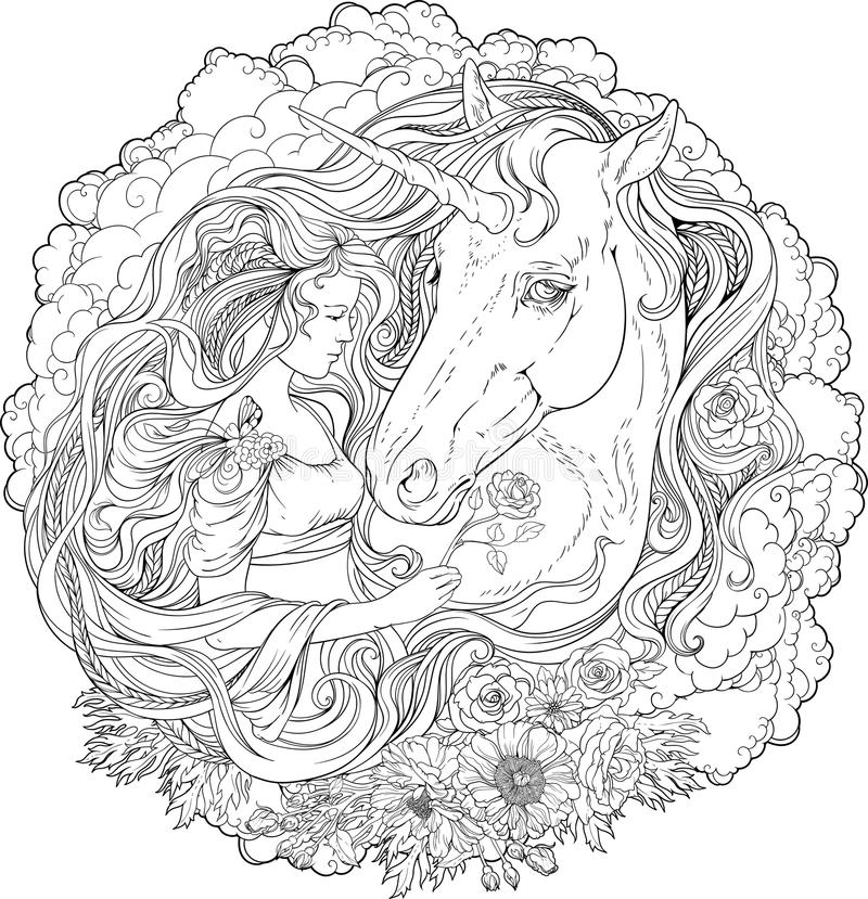 Image of unicorn and girl in clouds. stock illustration
