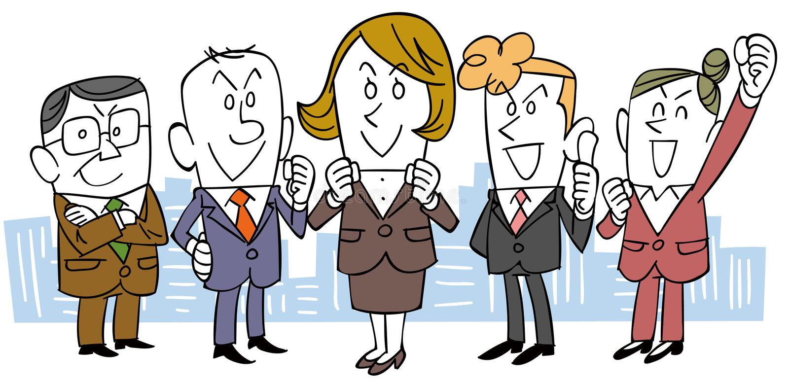 A Various ages business team. The image of a various ages business team, and a woman is a leader of it vector illustration