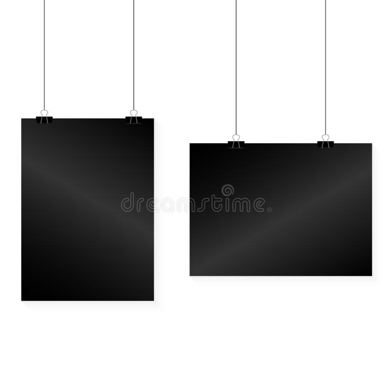 Image vector black poster hanging on binder. Grey wall with mock up empty paper blank. Layout mockup. Horizontal template sheet. Image vector white poster vector illustration