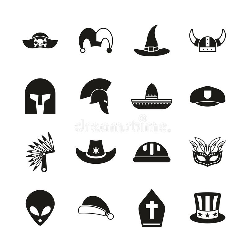 Costume Hats Icons Black & White Set. This image is a vector illustration and can be scaled to any size without loss of resolution vector illustration