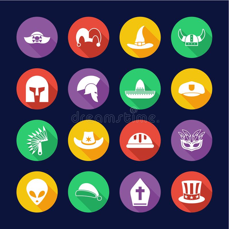 Costume Hats Icons Flat Design Circle Set. This image is a vector illustration and can be scaled to any size without loss of resolution royalty free illustration