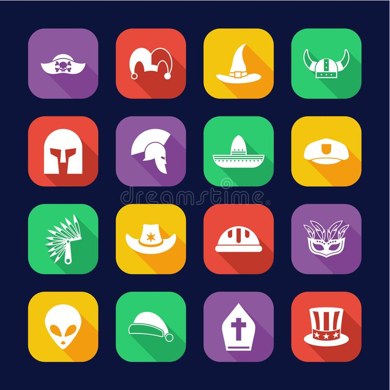 Costume Hats Icons Flat Design Set. This image is a vector illustration and can be scaled to any size without loss of resolution vector illustration