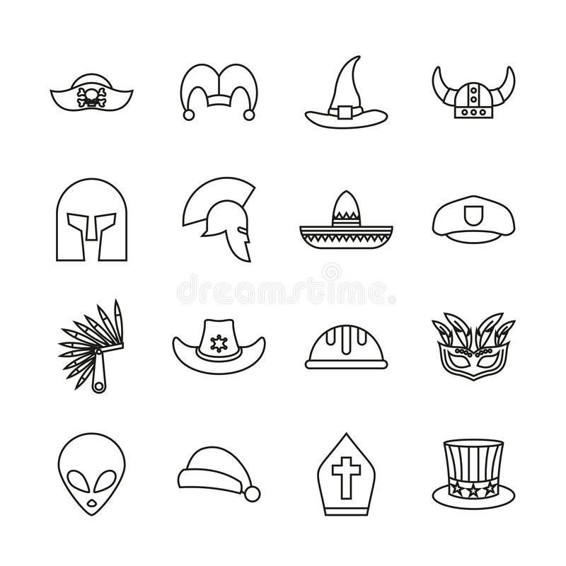 Costume Hats Icons Thin Line Set. This image is a vector illustration and can be scaled to any size without loss of resolution stock illustration