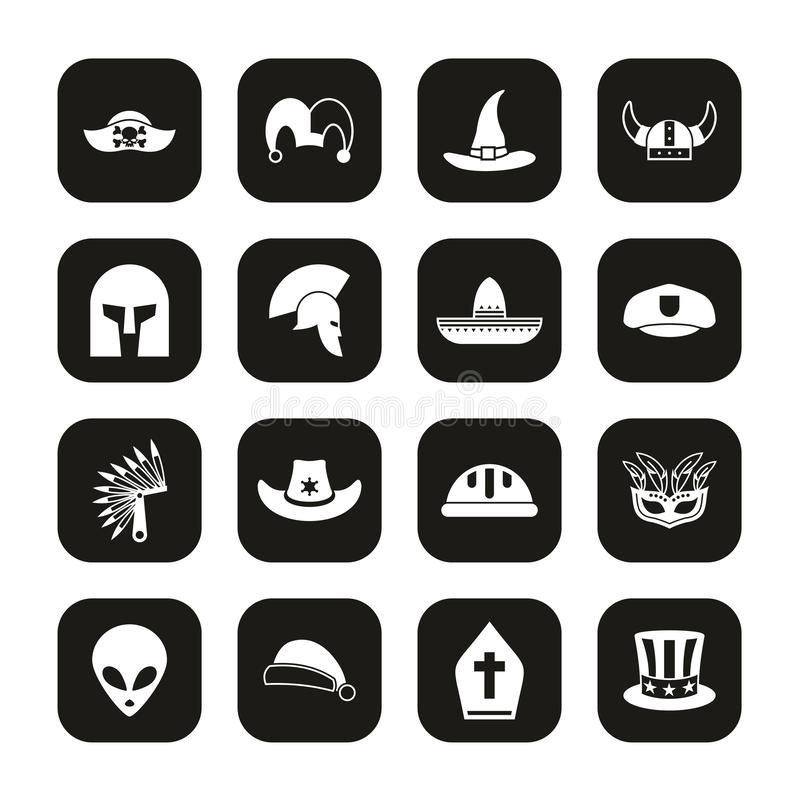 Costume Hats Icons White On Black Set. This image is a vector illustration and can be scaled to any size without loss of resolution royalty free illustration