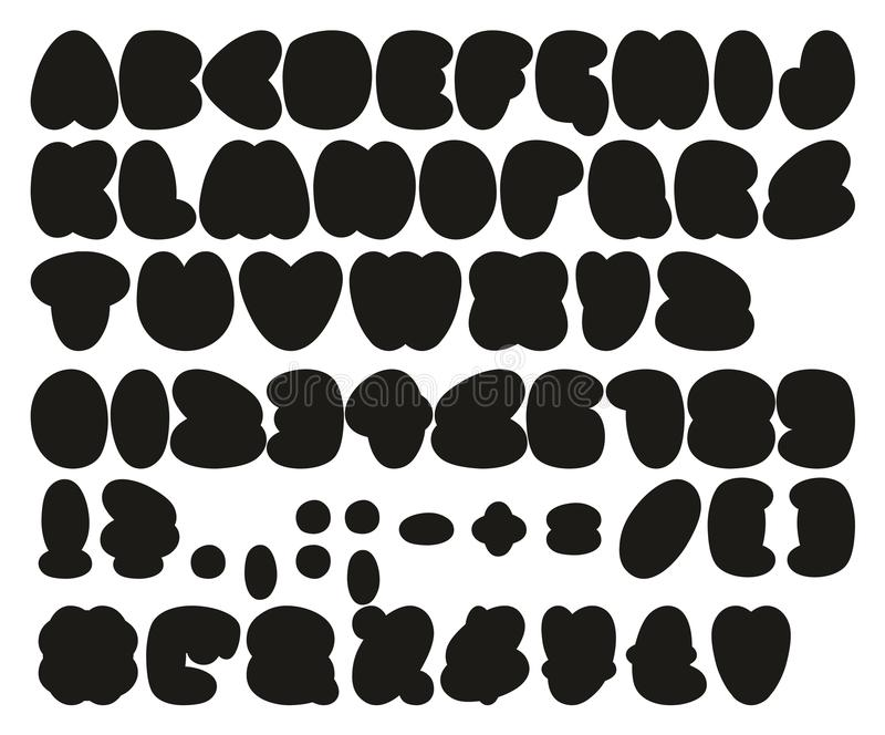 Fat Bubble Fill Simple Freehand Vector Font with Uppercase Letters, Numbers & Signs royalty free illustration