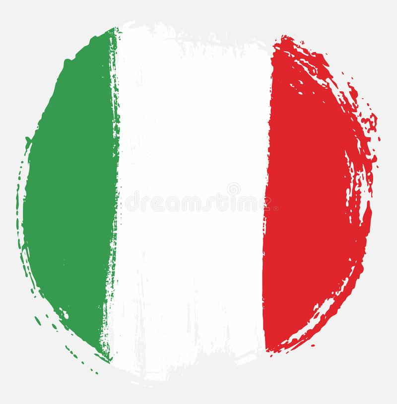 Italy Circle Flag Vector Hand Painted with Rounded Brush royalty free illustration