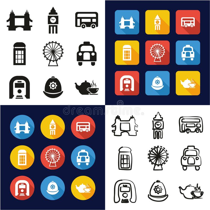London All in One Icons Black & White Color Flat Design Freehand Set royalty free illustration
