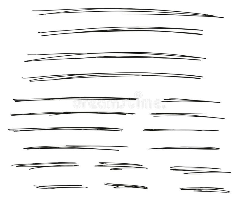 Pen Strokes Thin Line & Background Set 03. This image is a vector illustration and can be scaled to any size without loss of resolution vector illustration