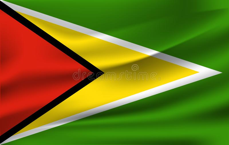Realistic waving flag of the Waving Flag of Guyana, high resolution Fabric textured flowing flag,vector EPS10 royalty free illustration