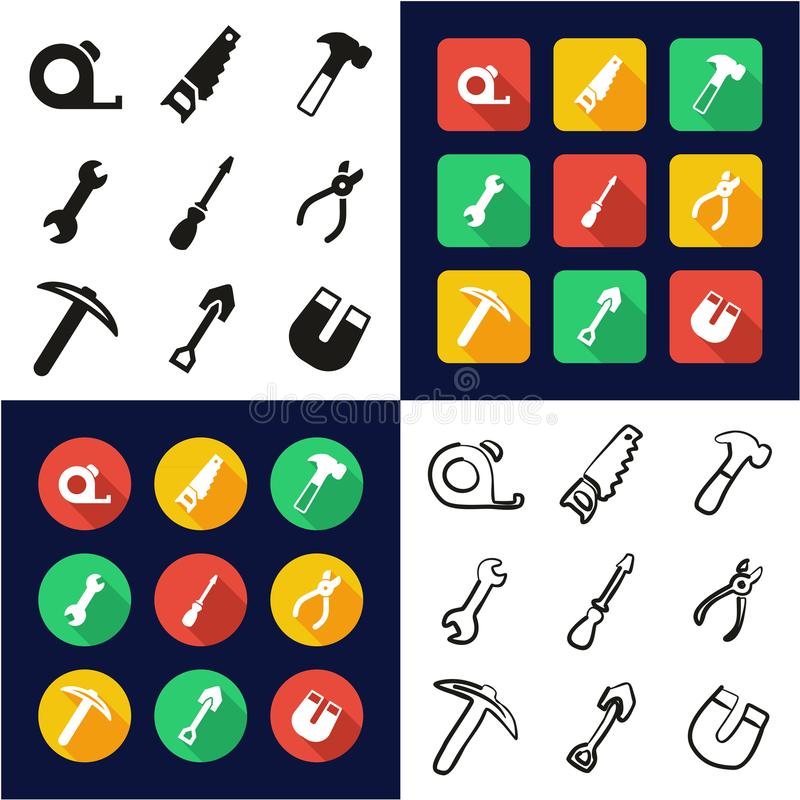 Tools All in One Icons Black & White Color Flat Design Freehand Set. This image is a vector illustration and can be scaled to any size without loss of resolution royalty free illustration