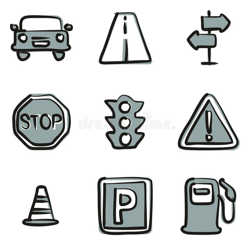 Traffic Icons Freehand 2 Color stock illustration
