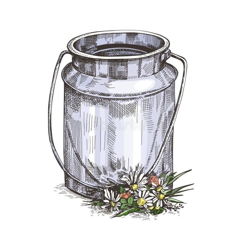 Image vectorielle de la canette de lait et des fleurs sauvages. Dessin de style de croquis illustration libre de droits