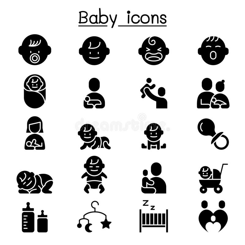 Image vectorielle du jeu d'icônes Baby, Infant illustration stock