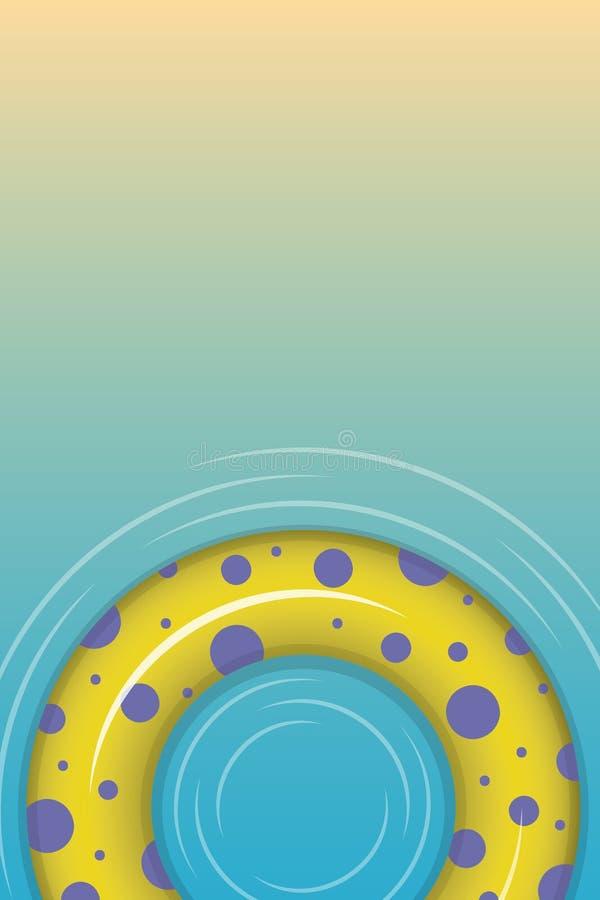 Image verticale d'un cercle gonflable sur un fond jaune-bleu illustration stock