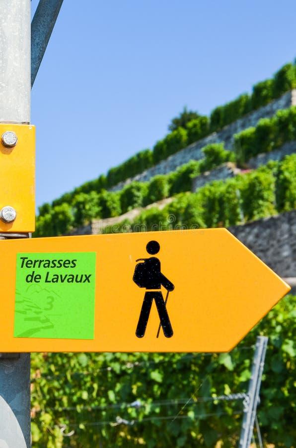 Image verticale de signe jaune de touriste dans les terrasses indiquantes françaises de Lavaux donnant des directions dans la rég photos stock