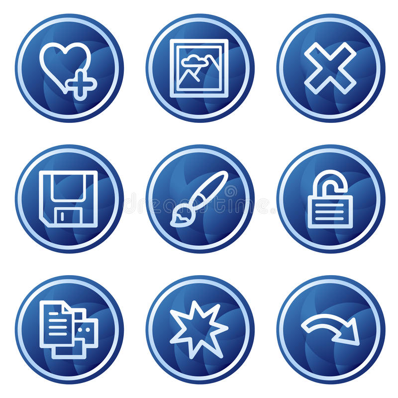 Basic Web Icons, Blue Circle Buttons Series Stock Illustration