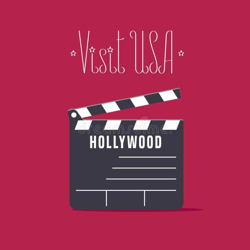 Image visitez Etats-Unis, Hollywood avec l'illustration de vecteur de panneau de clapet de film, affiche illustration de vecteur
